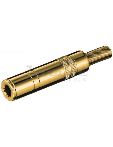 Presa Jack 6,3 mm 1/4 Stereo volante, dorato