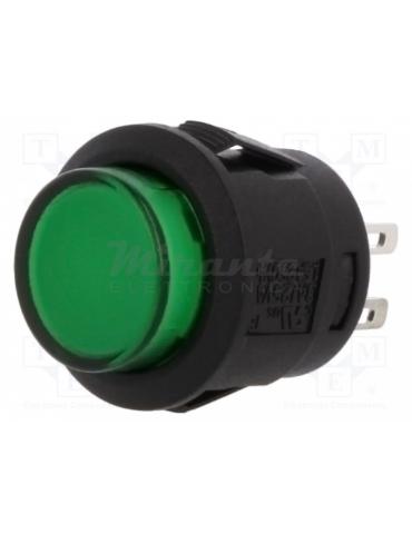 Pulsante Rotondo Snap-in momentaneo Verde 1.5A 250V AC, Retroilluminazione 12V