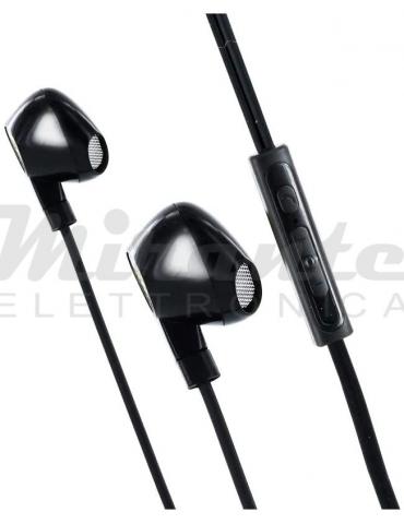 Metronic - Auricolare Cuffia con Microfono, Jack 3,5, colore Nero
