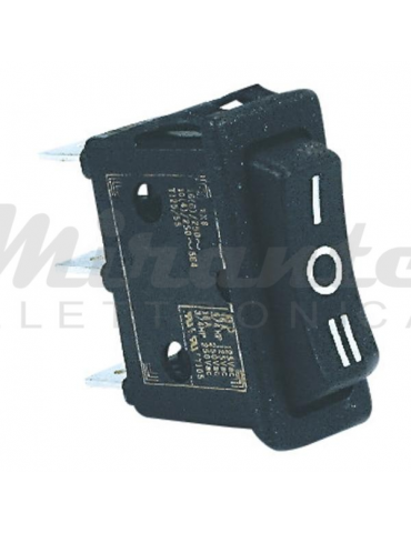 ON-OFF-ON Interruttore Nero 31x10mm 16A 250V