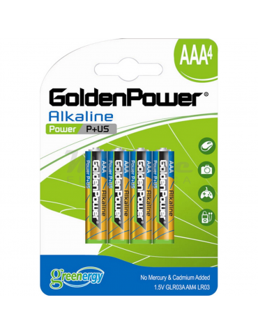 Golden Power - Pile Mini Stilo Alcaline AAA, confezione da 4