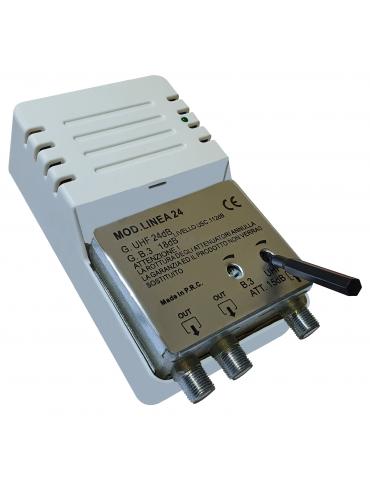Amplificatore di Linea per Digitale da Interno a 2 Uscite, Connettore F, con 24dB VHF/UHF