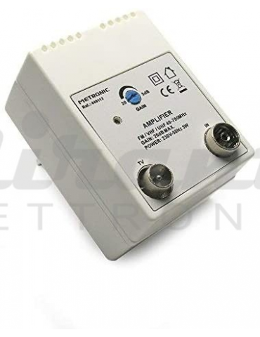 Metronic Amplificatore TV per Digitale Terrestre con Filtro Lte, 20Db Regolabili, 1 Ingresso/1 Uscita, Bianco