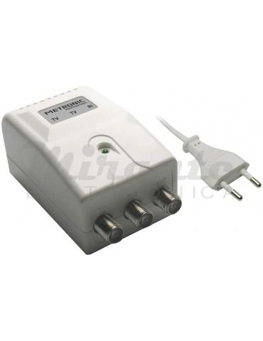 Metronic 414041 Alimentatore per Amplificatori d'Antenna con 2 Uscite TV, Bianco