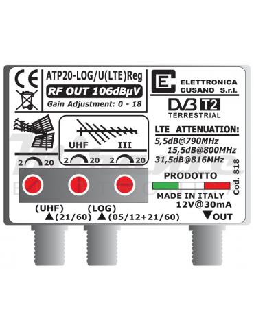 Amplificatore da Palo LTE Bande LOG e UHF da 20dB, 2 In 1 Out, EFFE