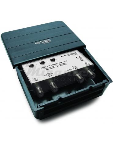 Metronic - Amplificatore UHF VHF 2 Ingressi 2 uscite, 30dB e 18dB