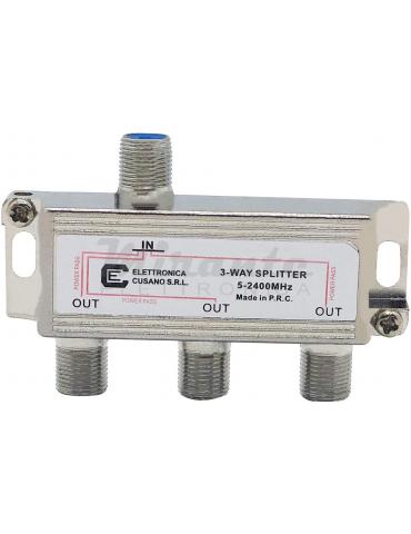 6333 - Partitore Antenna Tv da Interno con Connettore F, 1 Ingresso 3 Uscite