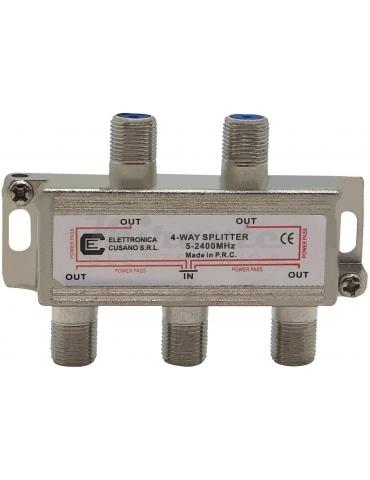 6433 - Partitore Antenna Tv da Interno con Connettore F, 1 Ingresso 4 Uscite