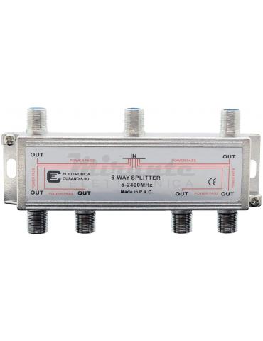 6633 - Partitore Antenna Tv da Interno con Connettore F, 1 Ingresso 6 Uscite