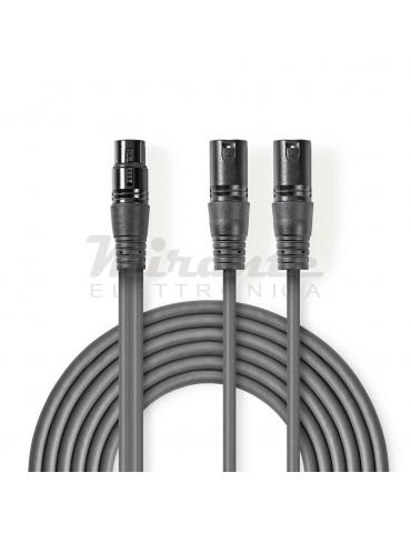 Nedis - Cavo Audio XLR Bilanciato, da Femmina 3 Pin XLR a 2 Maschio 3 Pin XLR,  1.5 m Grigio