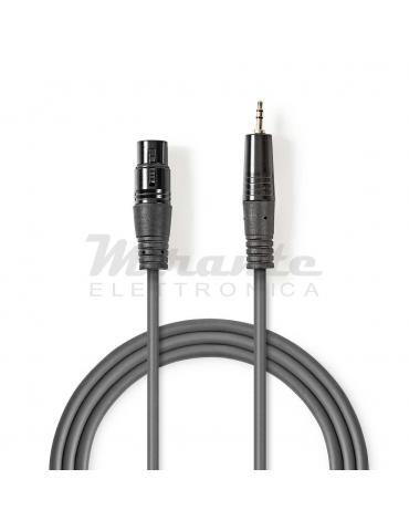 Nedis - Cavo Audio XLR Bilanciato da Femmina 3 Pin XLR a Jack 3,5 mm Maschio, da 1 metro