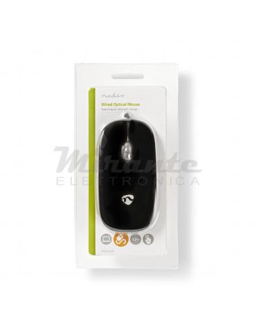 Nedis Mouse con filo USB 3 Pulsanti 1000DPI, Nero