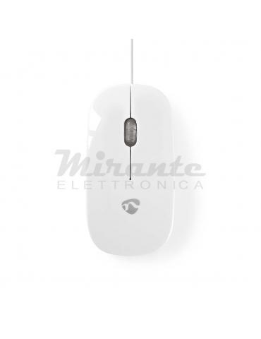Nedis Mouse con filo USB 3 Pulsanti 1000DPI, Bianco