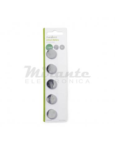 NEDIS Batteria a bottone, al litio CR2032 (5 Pezzi)