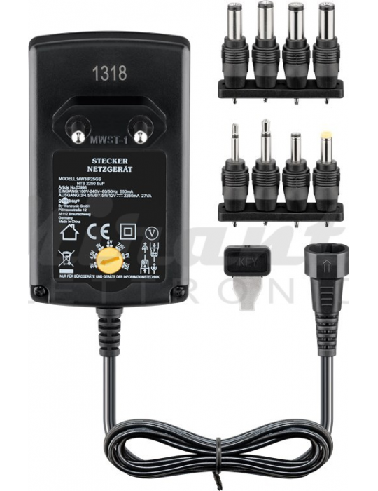 Alimentatore universale 3V - 12V - 2.25 Amp - 53998 - Mirante Elettronica Acilia