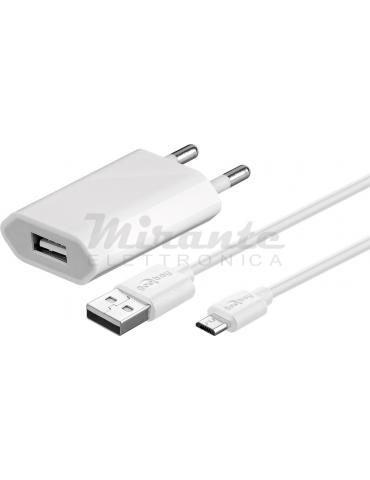 Alimentatore 5V - 1A - Set con cavetto Micro USB - Bianco
