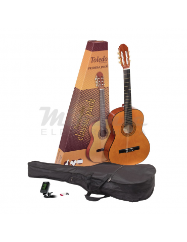 TOLEDO PRIMERA Guitar Pack Chitarra Classica 3/4 con Accordatore, Plettri e Borsa