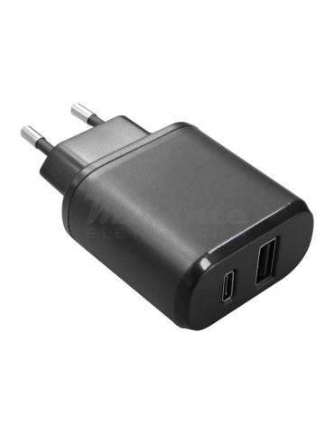 Alimentatore 5V - 3A - 2 prese USB+USB Tipo C
