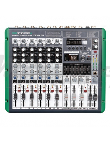 ZZIPP ZZMX8R Mixer 8 Canali con Recording Karaoke Studio DJ