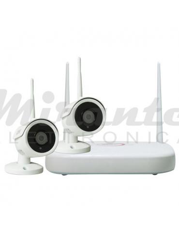 "Life - KIT H265+ WIRELESS NVR 9CH + 2 Telecamere IP66, 1080P 2Mpx, L.3,6mm, LED IR, CMOS 1/2,7"""