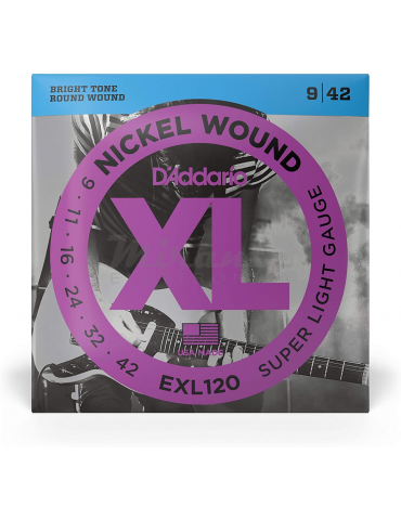 D'Addario EXL120 Set di Corde Rivestite in Nickel per Chitarra Elettrica, Super Light, 9-42