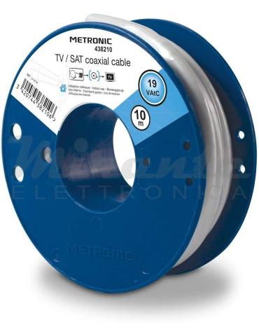 Metronic Cavo Antenna Tv Sat 6,8mm, bianco, 10 metri in bobina