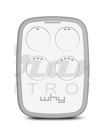 WHY EVO - Radiocomando Universale Apricancello - Ampio Raggio - Multifrequenza da 300 a 868Mhz - 4 Tasti - Bianco