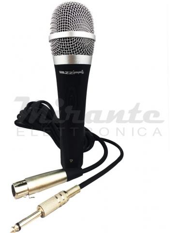 ZZIPP ZZDM500 Microfono Dinamico a Filo per Voce Karaoke DJ con Cavo