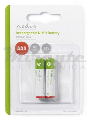 Nedis - Batterie AAA Ricaricabili Ministilo 700mAh, confezione da 2