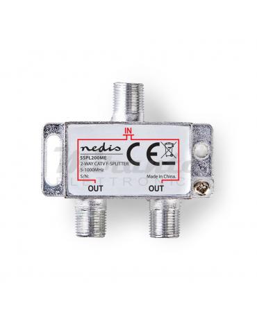 NEDIS Partitore Antenna Tv da Interno con Connettore F, 1 Ingresso 2 Uscite