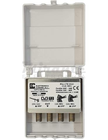 MIX-LTE-VUU - Miscelatore Antenna VHF/UHF/UHF con Filtro Lte da Palo 3 Ingressi