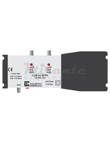 CLM-3U-EFFE, Centralina Tv per antenna III Banda + UHF, 2 Ingessi, 32dB per impianti centralizzati