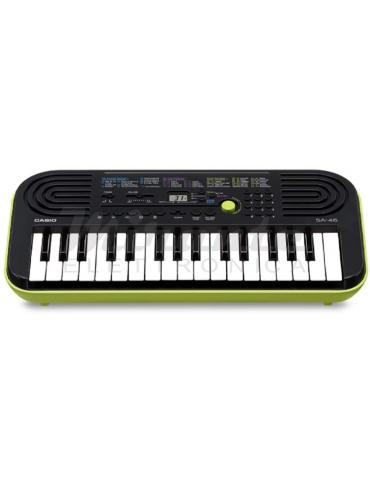 Casio SA46 Mini Tastiera Elettronica, 32 Tasti, Altoparlanti Integrati, Nero e Verde