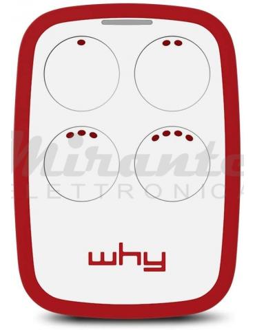 WHY EVO - Radiocomando Universale Apricancello - Ampio Raggio - Multifrequenza da 300 a 868Mhz - 4 Tasti - Rosso - Red Granade