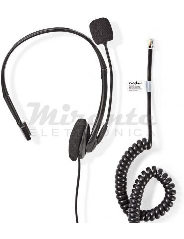 Nedis Cuffia con plug RJ9 Telefonico per PC ad archetto, Nero
