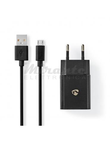 Nedis - Caricabatterie USB con cavo micro USB 5V 2,1A, nero