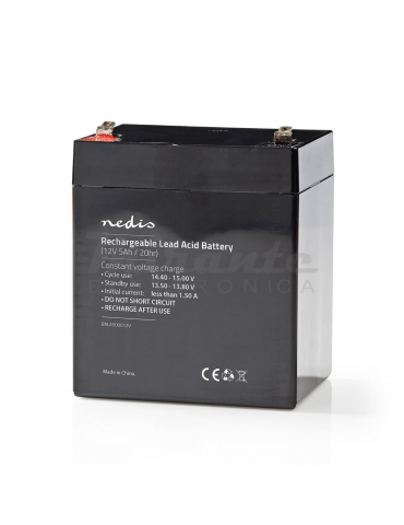 NEDIS - Batteria al piombo Ricaricabile 12V 5Ah