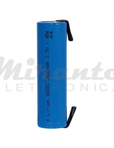 18650 Blu Pila Ricaricabile 3,7v Li-ion 2600mAh, con lamelle a saldare