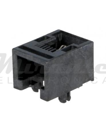 RJ11 Presa telefonica 4 pin, per circuito stampato, nero