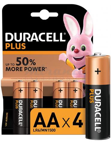Duracell LR06 Plus AA - Batterie Stilo Alcaline 1,5V, Confezione da 4