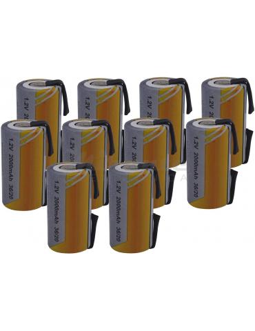 Batterie SC NI-CD 1,2V 2000mAh con Lamelle, confezione da 10 pezzi