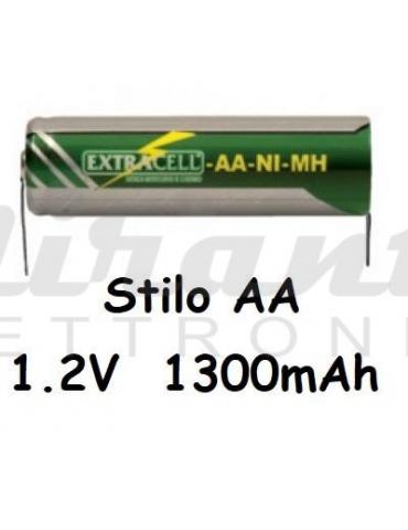 Extracell AA Stilo Verde Ni-Mh 1,2v 1300mAh, con lamelle a saldare