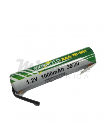 Extracell AAA Mini Stilo Verde Ni-Mh 1,2v 1000mAh, con lamelle a saldare