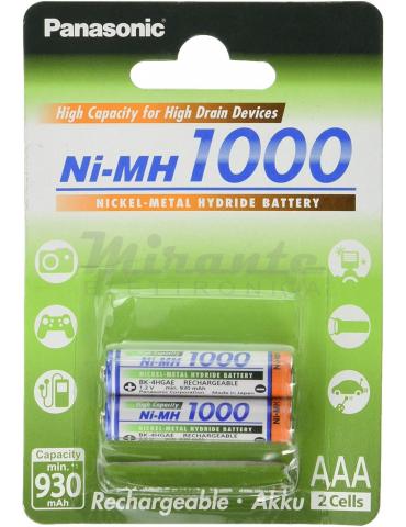 Panasonic Batterie Ricaricabili Ministilo AAA, 930mAh, confezione da 2 pezzi