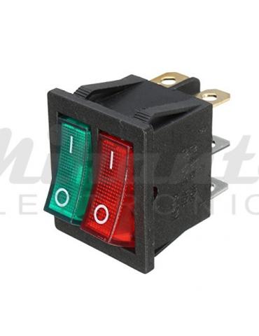 ON-OFF Doppio Interruttore Rosso Verde Luminoso 220v