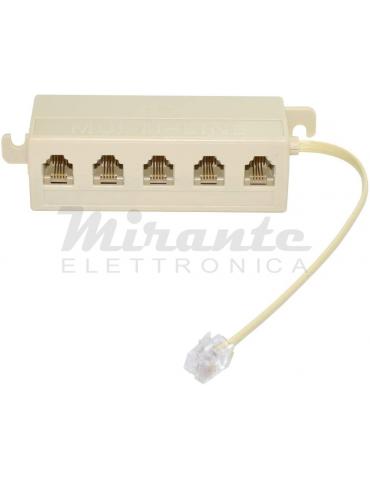 Multipresa telefonica 6P4C a 5 uscite, sdoppiatore di cavi RJ-11 RJ-12, beige, 1 spina e 5 prese