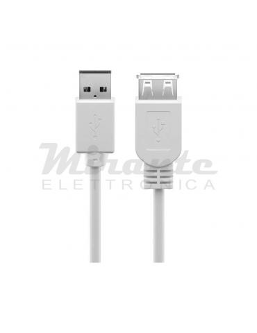 Prolunga Cavo Usb Spina Presa USB-A, Lunghezza 2 metri, Bianco