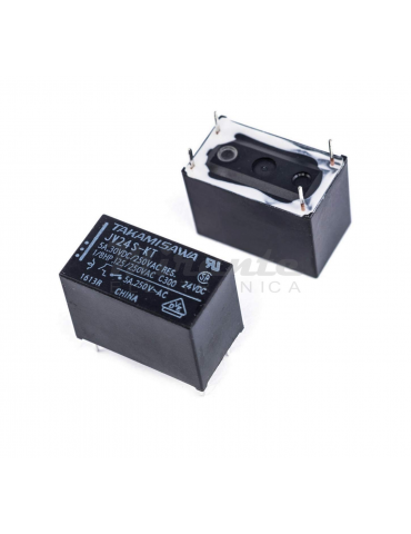 Takamisawa JV24S-KT Relè Bobina 24Vdc 5A/250VAC 5A/30VDC SPST-NO da circuito stampato