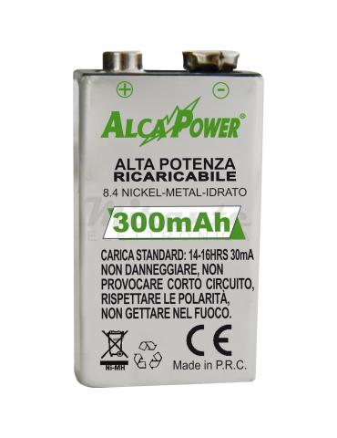 Alcapower 9V Batteria Pila Ricaricabile 300mAh Ni-Mh