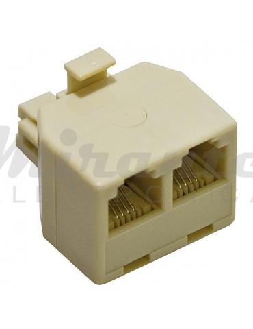 Adattatore compatto RJ11 6P4C 1 maschio a 2 femmina sdoppiatore di linea telefonica connettore beige